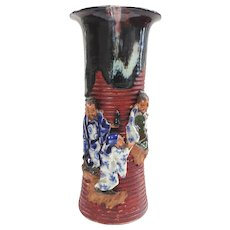 Japanese Pottery-Sumida Gawa Vase With Three Men