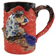 Japanese Pottery-Sumida Gawa Mug With Young Child