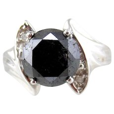 14KT White Gold Ring with Black Diamond