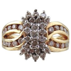 10 kt Two-tone Gold Cluster Diamond Ring