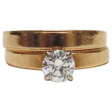 Diamond Solitaire Engagement 14kt Two Tone Gold Rings