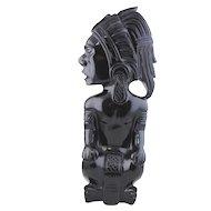 Vintage Mexican Obsidian Sculpture - Aztec Warrior