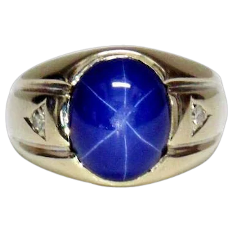 14KT White Gold Man's Ring with Star Sapphire & Diamonds