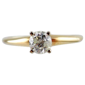 Diamond Engagement Ring 14kt Two Tone Gold - Size (5 3/4)