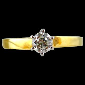 Diamond Engagement Ring 18kt Yellow Gold & Platinum - Size (7 1/4)