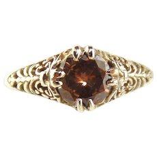 14kt White Gold  Filigree Ring-Champagne Diamond - Size 7 1/2