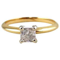 Diamond Engagement Ring 14kt Two Tone Gold - Size (6 1/4)