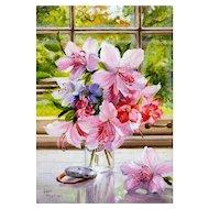 Original Oil Painting by Lauri Waterfield Callison- Miniature Floral