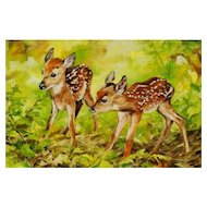 Original Miniature Oil Painting by Lauri Waterfield Callison- Twin Fawns