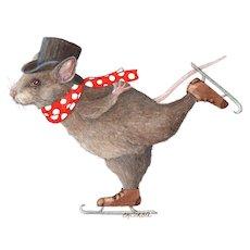 Original Mixed Media Painting by E M Corsa-Mouse Skating