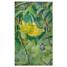 Original Oil Painting  by  Lee Mims-Hummingbird Daze
