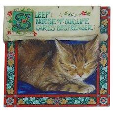 Miniature Oil Painting by Debby Faulkner-Stevens-Sleeping Cat