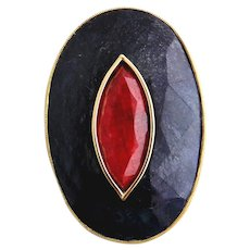 Sapphire & Ruby Brooch 18kt Yellow Gold