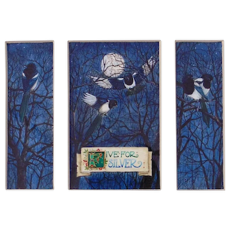 Miniature Gouache Painting by Debby Faulkner-Stevens-Five For Silver