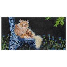 Original Miniature Painting by Carol P. Rockwell-Orange Tabby