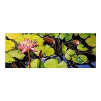 Miniature Oil Painting by Lauri Waterfield Callison- Water Lilies & Dragonfly