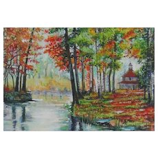 Miniature Painting by Pauline Denyer-Baker - Autumn Scene