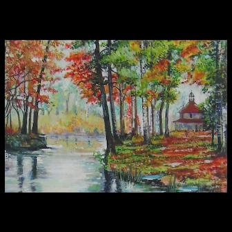 Miniature Painting by Pauline Denyer-Baker - Autumn Scene