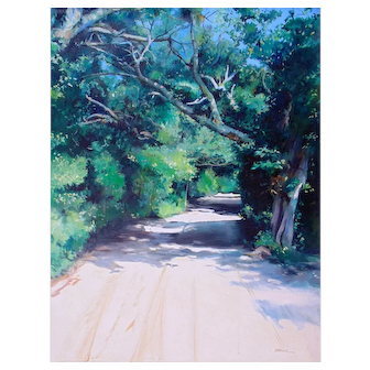 """Original Oil Painting by Listed Artist, Gregory Kavalec """"Howard Street in Ocracoke, NC"""""""