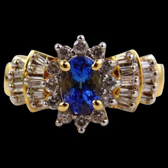 Tanzanite & Diamond Lady's Ring 14kt Yellow Gold