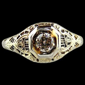 18kt White Gold Diamond Filigree Ring