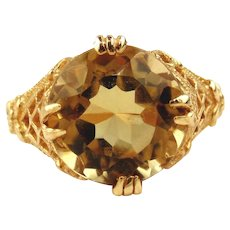14kt Yellow Gold Filigree Ring with Round Cut Citrine