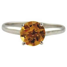 Citrine Solitaire Style Ring 14kt White Gold