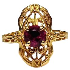 14kt Yellow Gold Filigree Ring with Pink Tourmaline