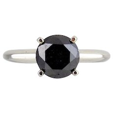 14KT White Gold 'Stuller' Ring with Black Diamond