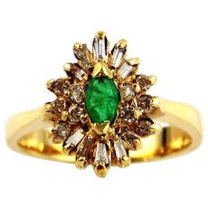Emerald & Diamond Cocktail Ring 14kt Yellow Gold