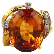 Citrine & Diamonds Ring 18kt Two-tone Gold