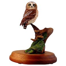 Saw Whet Owl, Wood Sculpture by Jim Carpenter