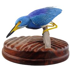 Hand Carved Wooden Sculpture of Tricolored Heron
