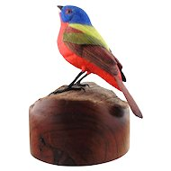 Hand Carved Wooden Sculpture of Painted Bunting by Jim Carpenter