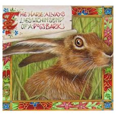 "Miniature Painting by Debby Faulkner-Stevens-""The Hare Always Lies...."""