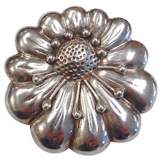 Sterling Silver Floral Pin by Coro -Mexico