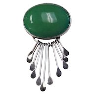 Vintage Mexican Pin with Oval Cabochon Green Agate