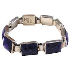 Sterling Silver & Faux Blue Stone Link Bracelet