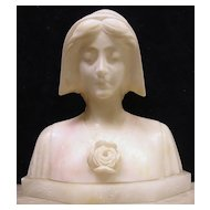 Antique Alabaster Sculpture of Anne of Cleves, Signed