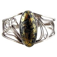 Sterling Silver Bracelet with Large Apache Gold Cabochon
