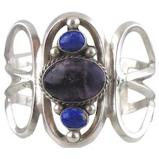 Vintage Sterling Silver Bracelet with Amethyst & Lapis Lazuli-Mexico