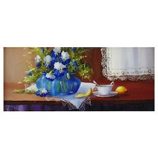 'Tea and Lace', Original Miniature Oil Painting by Gail MacArgel