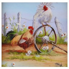 Original Miniature Oil Painting by Gail MacArgel- Barnyard Games