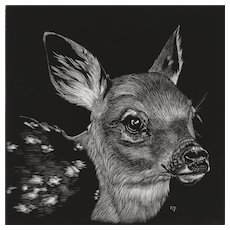 Original Scratchboard Drawing by Michelle Pattee - Fawn