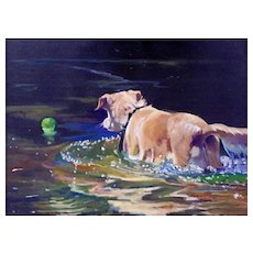 "Original Oil Painting by Sun Bauer- ""Ball Retrieval"""