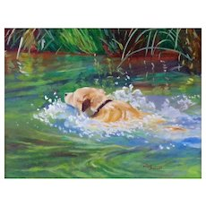 "Original Oil Painting by Sun Bauer- ""Swimming in Oak Creek"""