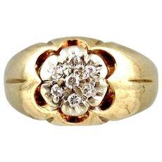 10k Two-tone Gold Diamond Man's Ring