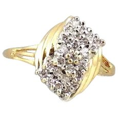 14 kt Yellow Gold Waterfall Cluster Style Diamond Ring