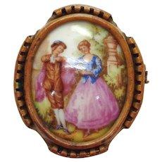 Vintage Limoges Porcelain Brooch-Hand Painted, Fragonard
