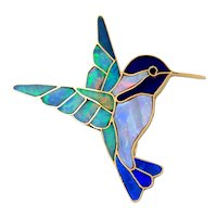 14K Yellow Gold Multiple Gemstone Inlay Hummingbird Brooch-Opex Milliron